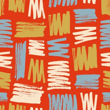 Vivid seamless pattern with colorful paint smears or marks on red background