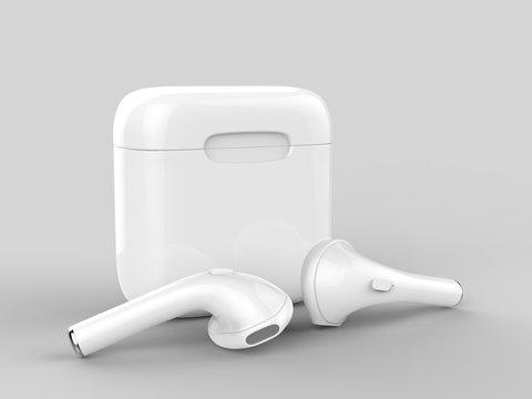 Blank promotional wireless earbuds. 3d render illustration.