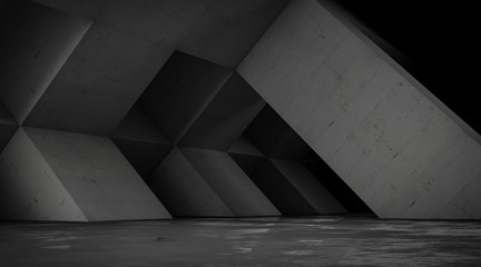 Abstract empty concrete space with geometric shapes, contemporary architecture background, 3d render.