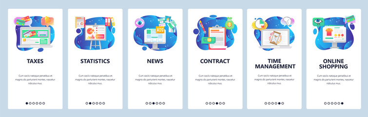 Mobile app onboarding screens. Financial chart, online payment, sign contract, time management. Menu vector banner template for website and mobile development. Web site design flat illustration