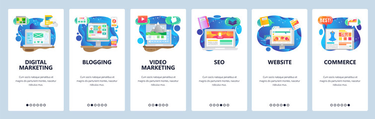 Mobile app onboarding screens. Online shopping, seo and digital marketing, video blogging. Menu vector banner template for website and mobile development. Web site design flat illustration