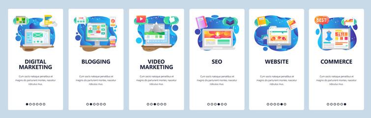 Mobile app onboarding screens. Online shopping, seo and digital marketing, video blogging. Menu vector banner template for website and mobile development. Web site design flat illustration