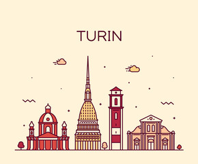 Fotomurales - Turin skyline Northern Italy Trendy vector style