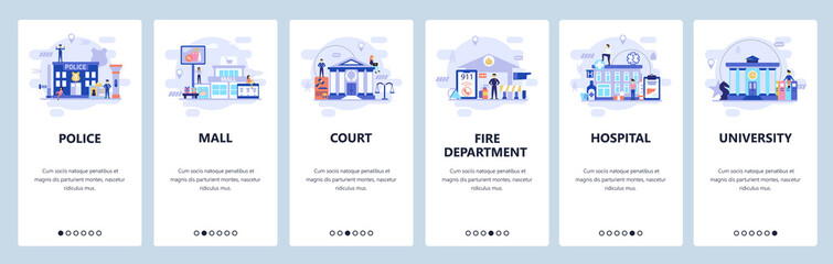 Mobile app onboarding screens. City buildings infrastructure, police, hospital, university, shopping mall. Vector banner template for website and mobile development. Web site design flat illustration Wall mural