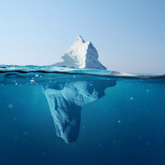 Keuken foto achterwand Antarctica Beautiful iceberg in the ocean with a view under water. Global warming concept. Melting glacier