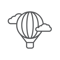 Hot air balloon line icon. Minimalist icon isolated on white background. Hot air balloon simple silhouette. Web site page and mobile app design vector element.