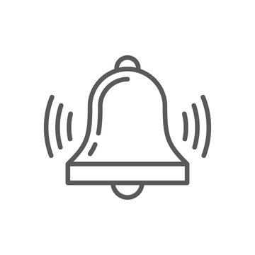 Bell line icon. Minimalist icon isolated on white background. Bell simple silhouette. Web site page and mobile app design vector element.
