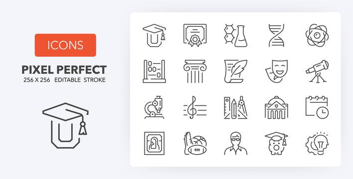 education 2 line icons 256 x 256