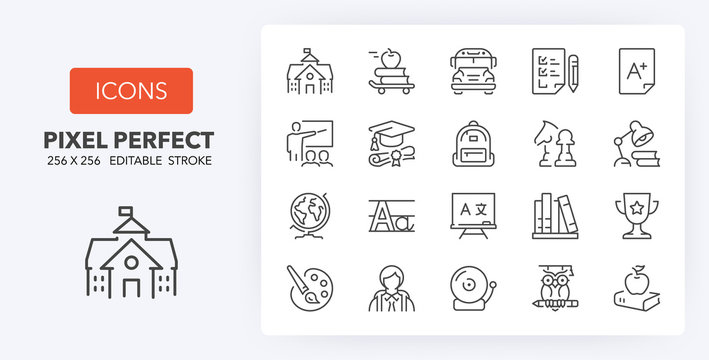education 1 line icons 256 x 256