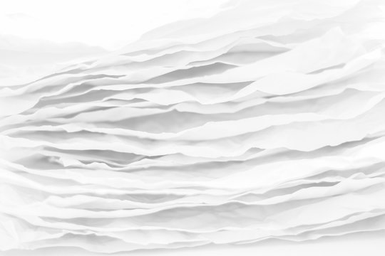 Closeup of white paper layers stack. Wavy lines abstract art background. Copy space.