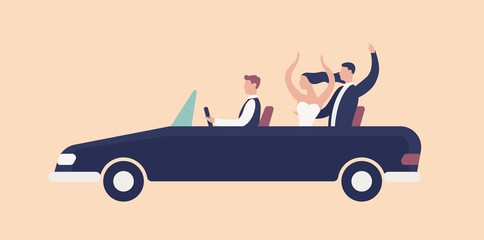 Funny newlyweds riding in cabriolet car with driver and rejoicing. Cute romantic couple celebrating marriage. Happy bride and groom in wedding automobile. Flat cartoon colorful vector illustration.