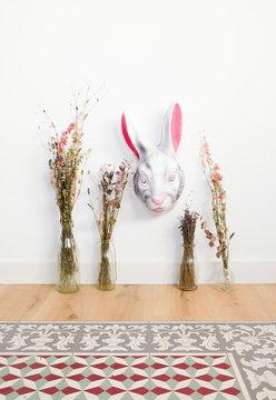 rabbit mask n the wall
