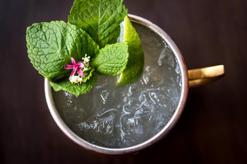 Overhead view of moscow mule cocktail