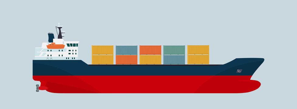 Cargo ship container isolated. Vector flat style illustration.