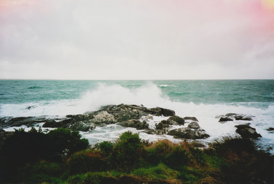 Film photo of a crashing wave at Bluff, New Zealand.
