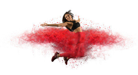 Girl wearing red leggings jumping with red dust  - Image