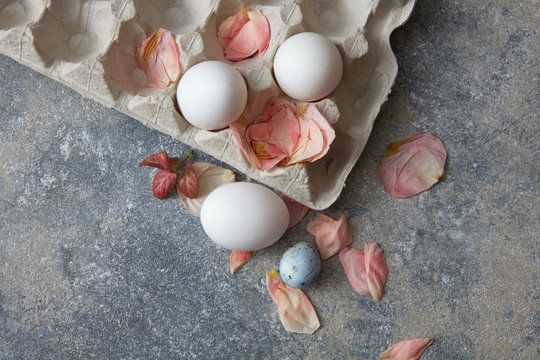 White eggs with petals