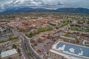 Santa Fe is the small Capitol of the State of New Mexico with Buildings in the Regional Pueblo Style