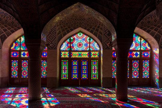 Symmetrical interior of vivid mosque