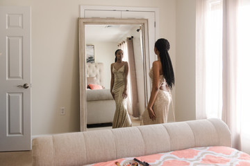 teen African American getting ready for prom