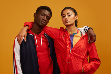 Portrait of young couple in sportswear