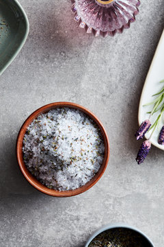 Aromatherapy with help of homemade lavender salt in bowl.