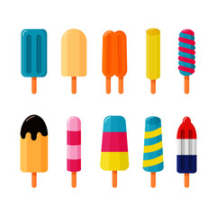 collection of ice cream isolated on white background. vector illustration.
