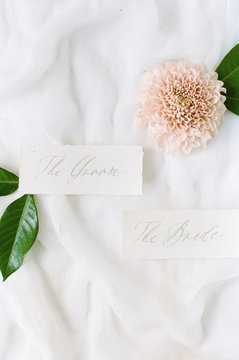 """The Groom"""""""" """"""""The Bride"""""""" calligraphy tags"""