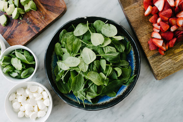 Flat lay of ingredients to make a salad