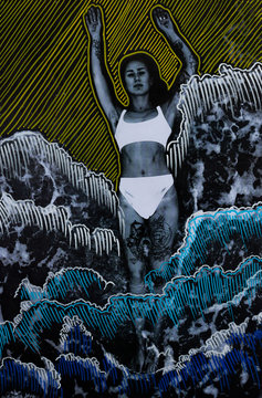 Low res print of a woman in the sea with vivid colour marks