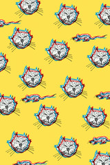 cats and mice,chasing,hand-carved modern BACKGROUND 3d style