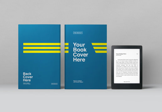 E-Book Reader and 2 Books Mockup
