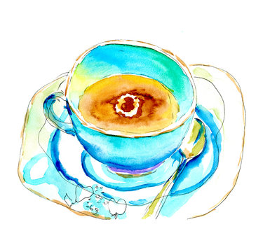 Vintage coffee mug with saucer and spoon in a coffee shop. Watercolor sketch illustration