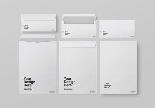 Various Sized Envelopes Mockup
