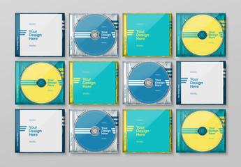 Grid of 16 Transparent CD Cases with 4 Alternating Designs Mockup