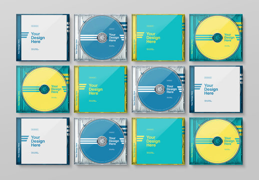Grid of 16 Transparent CD Cases with 4 Alternating Designs Mockup