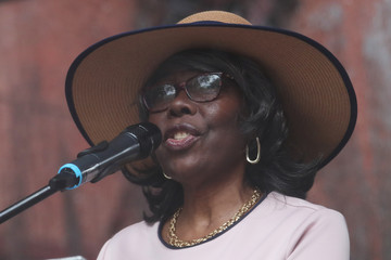 """Voletta Wallace, mother of slain rapper Christopher """"Notorious B.I.G"""" Wallace speaks at the street naming ceremony for Christopher """"Notorious B.I.G"""" Wallace way in the Brooklyn borough of New York"""