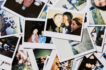 Polaroid pics of friends having fun.