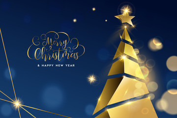 Wall Mural - Christmas and New Year gold 3D pine tree card