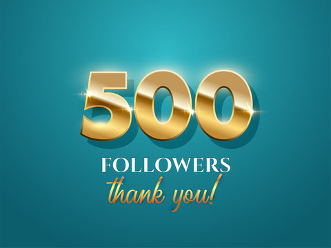 500 followers celebration vector banner with text on azure background