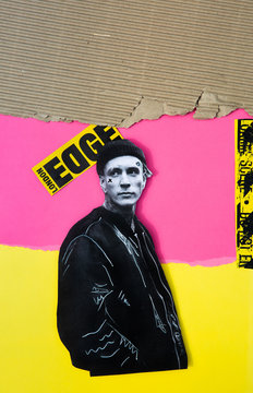 3d Collage of a punk man with corrugated cardboard, pink and yellow colour blocks