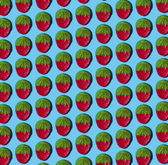 Gummy Strawberry Pattern on Blue