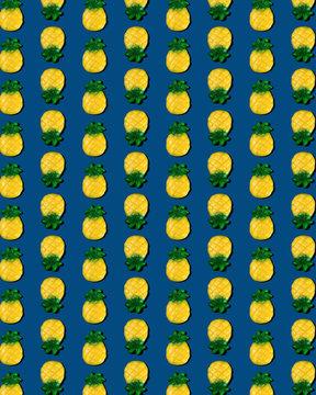 Gummy Pineapple on Blue Pattern