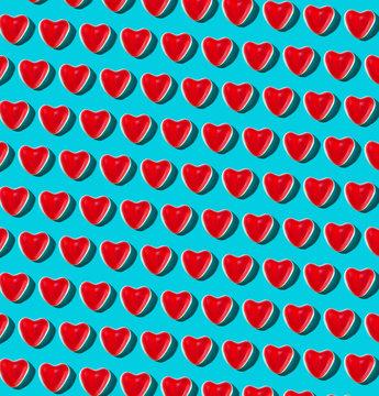 Gummy Heart Pattern on Turquoise