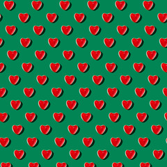 Gummy Heart Pattern on Green