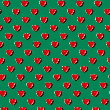 Gummy Heart Pattern on Green