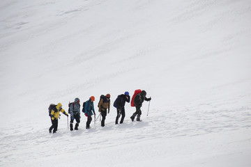 alpinism in the snowy mountains