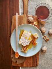 Honeycomb and honey on a plate