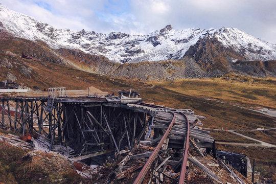 Railroad tracks at abandoned mine