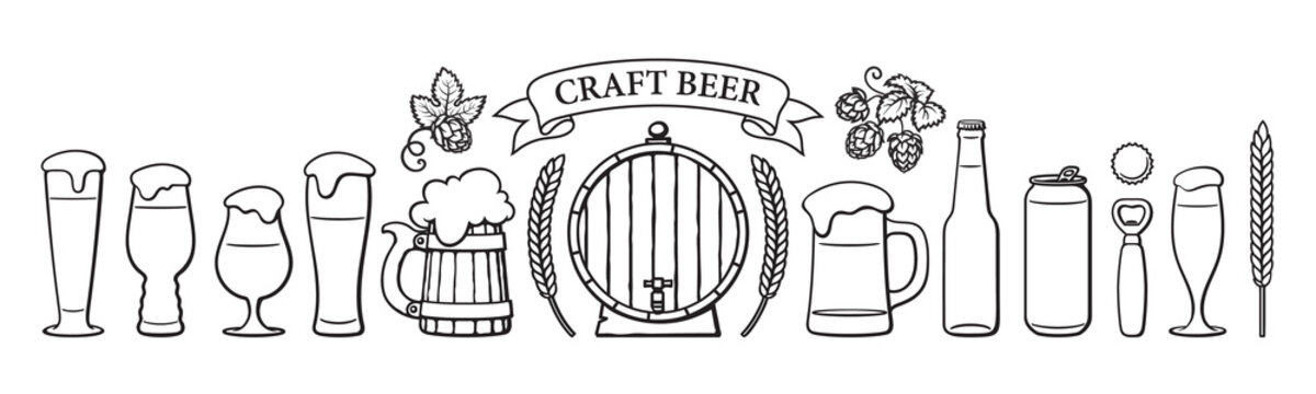 Beer objects set. Beer glasses of different shape, mugs, old wooden barrel, bottle, can, opener, cap, barley, wheat, ribbon banner with text Craft Beer. Black and white vector illustration.